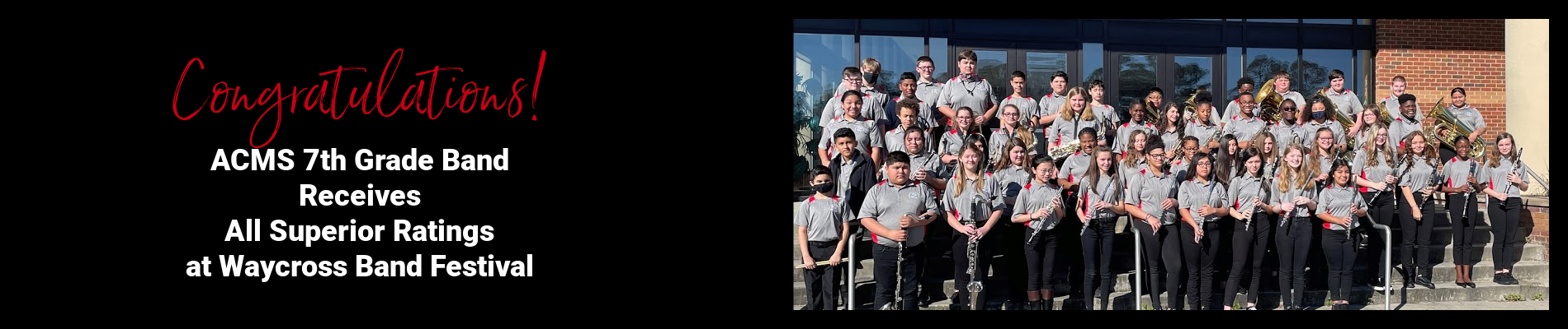 ACMS 7th Grade Band Receives All Superior Ratings at Waycross Band Festival