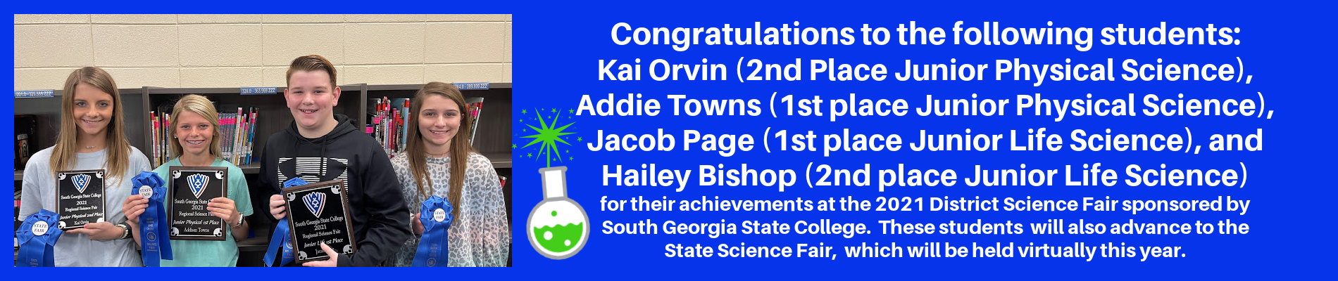 ACMS District Science Fair Winners Advancing to State Science Fair