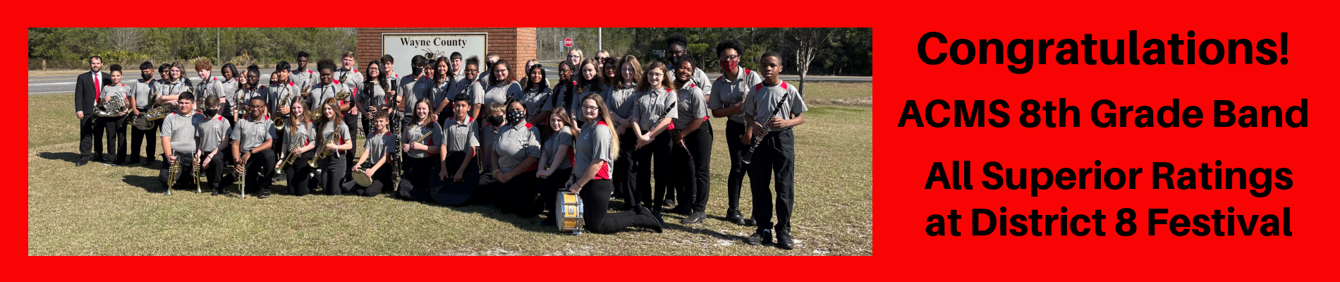 8th Grade Band:  All Superior Ratings at District 8 Festival